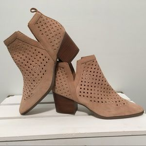 Sole Society Blush Suede Perforated Ankle Booties